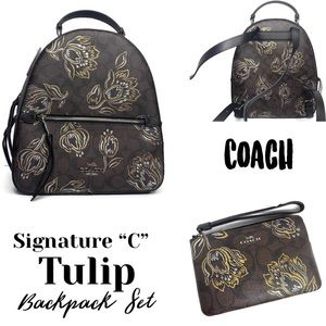 Coach Signature Mahogany C Tulip Backpack Wristlet